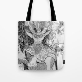"""""""Eh?"""" ~ The Satyr Oarsman At Market Tote Bag"""