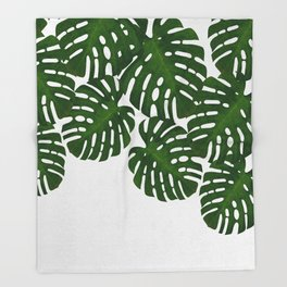 Monstera Leaf I Throw Blanket