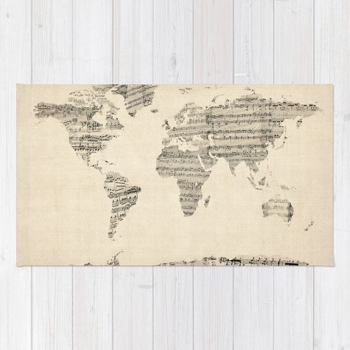 World Map Throw Rug: Old Sheet Music World Map Rug By Artpause