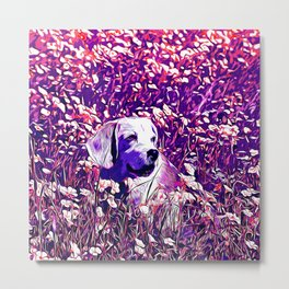 beagle dog flower field vector art purple Metal Print