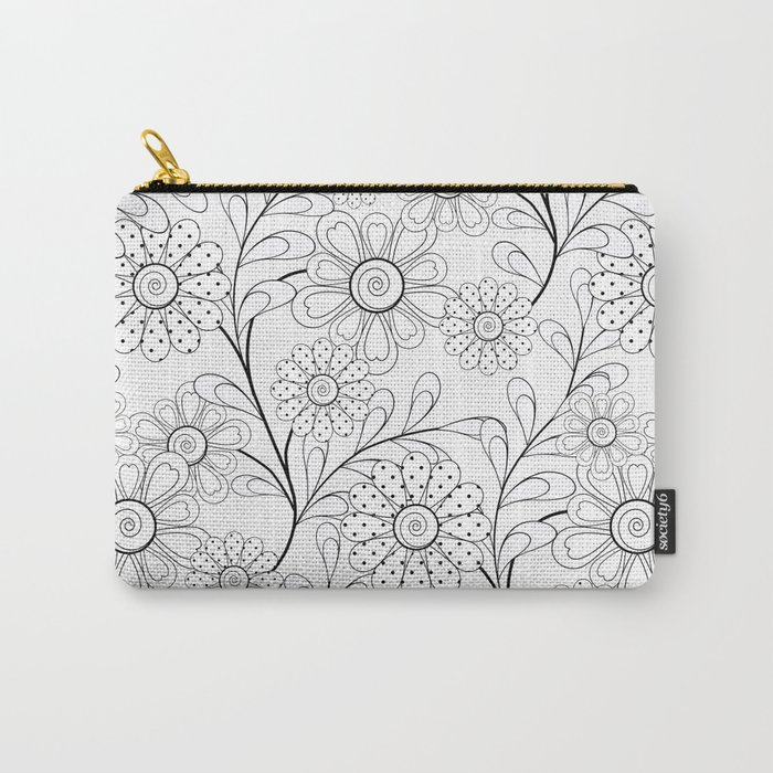 .Floral pattern on a white background. Carry-All Pouch