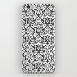 Vintage black white chic elegant floral damask iPhone Skin