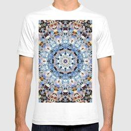 Blue Brown Folklore Texture Mandala T-shirt