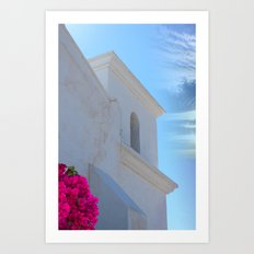 Architectural Detail of White Stucco Colonial Church in Arizona Art Print
