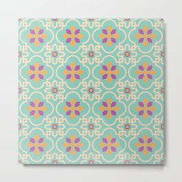 Traditional vintage tile flower pattern Metal Print