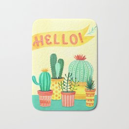Hello! Colorful Watercolor Cactus and Succulent in Patterned Planters Bath Mat
