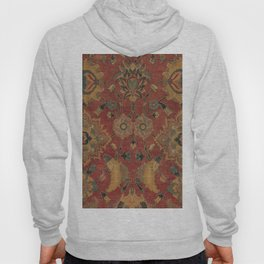 Flowery Boho Rug II // 17th Century Distressed Colorful Red Navy Blue Burlap Tan Ornate Accent Patte Hoody