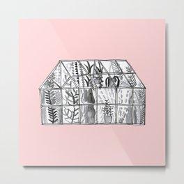 Pink greenhouse illustration Metal Print
