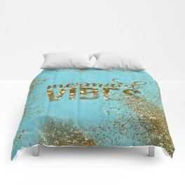 Mermaid Vibes - Gold Glitter On Teal Comforters