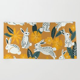 Bunnies & Blooms - Ochre & Teal Palette Beach Towel