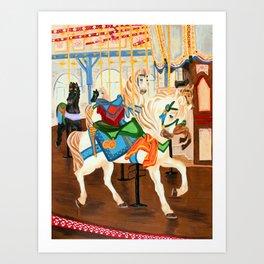 Santa Monica Carousel Art Print