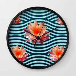 Peach Color Water Lily Water Garden Wall Clock