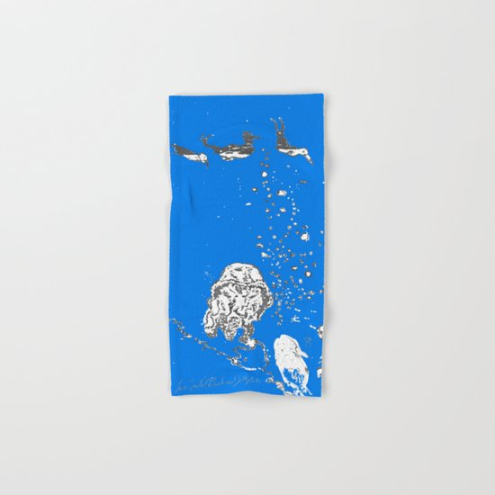 Two Tailed Duck and Jellyfish Royal Brilliant Blue Hand & Bath Towel