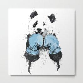 Panda Boxing Metal Print
