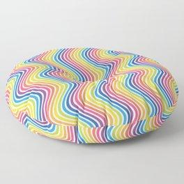 RAINBOW WAVY LINES Abstract Art Floor Pillow
