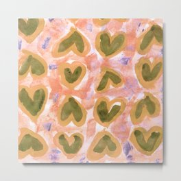 Melon Hearts Metal Print