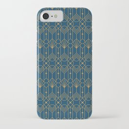 Golden art deco illustration pattern on dark blue background iPhone Case