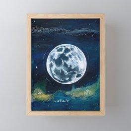 Full Moon Mixed Media Painting Framed Mini Art Print