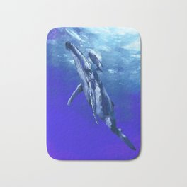 Whale with baby Bath Mat