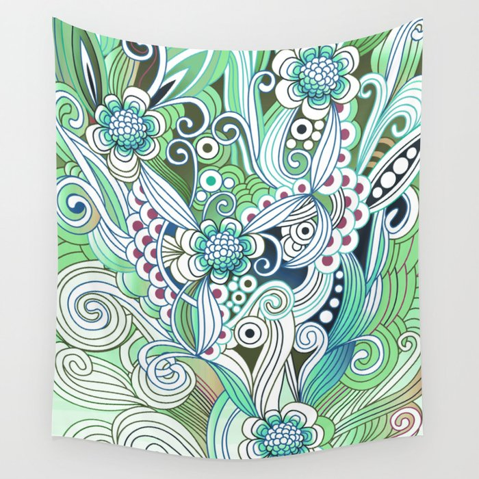 Zentangle Flower fire, green doodle Wall Tapestry