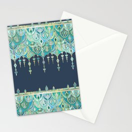 Art Deco Double Drop in Blues and Greens Stationery Cards