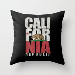 Cali Bear Flag with deep distressed textures Throw Pillow