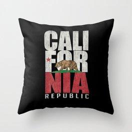 Cali Bear Flag with deep distressed textures Throw Pillow