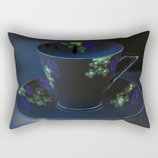 Midnight Blue Teacup   Still Life of Vintage Teacup Rectangular Pillow