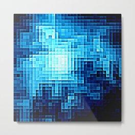 Nebula Pixels Blue Metal Print