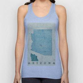 Arizona State Map Blue Vintage Unisex Tank Top