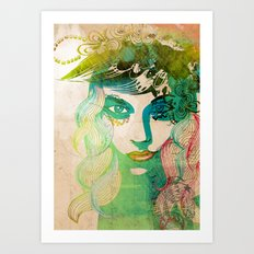 floral girl illustration Art Print