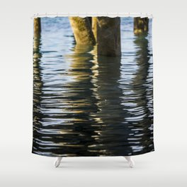 Water reflection under the dock Shower Curtain