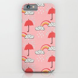 April showers rainbow Clouds Pink #nursery iPhone Case
