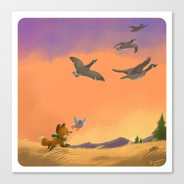 Fox and Boots - Migration Canvas Print