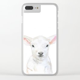 Lamb Face Watercolor Clear iPhone Case