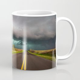 On the Road - Highway Leads to Intense Storm in Oklahoma Coffee Mug
