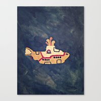 yellow submarine Canvas Prints featuring Yellow submarine by Pauline Fahlström