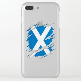 Flag of Scotland Saint Andrew's Cross Ripped Reveal Clear iPhone Case