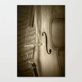 Sepia Toned Photo of a Cello Stringed Instrument with Sheet Music Canvas Print