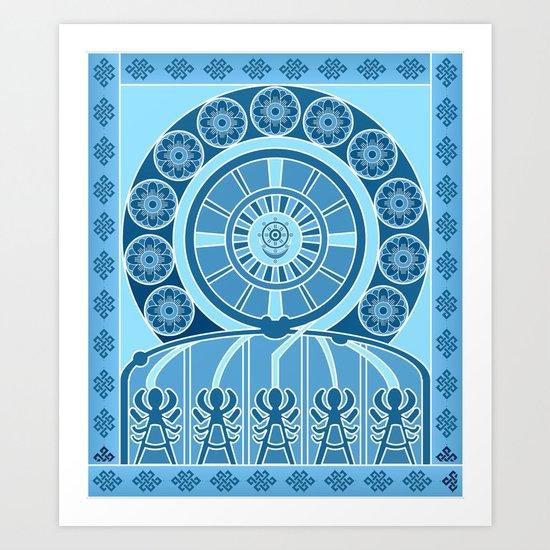 Eternal Blue Wheel Art Print