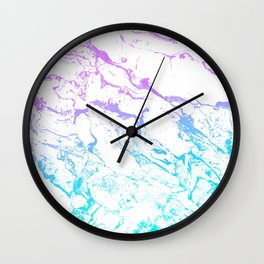 White marble purple blue turquoise ombre watercolor mermaid pattern Wall Clock