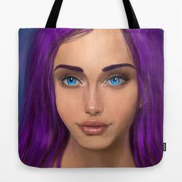 Girl with violet hair Tote Bag