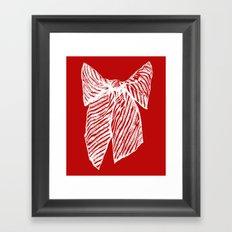 White bow Framed Art Print