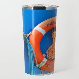 Life buoy hanging on a boat. Travel Mug