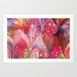 Pink Fizz Acrylic Abstract Painting Art Print