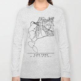 CAPE TOWN SOUTH AFRICA BLACK CITY STREET MAP ART Long Sleeve T-shirt