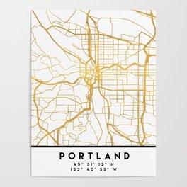 PORTLAND OREGON CITY STREET MAP ART Poster