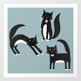 Black and White Cats Art Print
