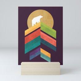 Lingering mountain with golden moon Mini Art Print