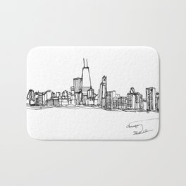 Chicago Skyline (A Continuous Line Drawing) Bath Mat